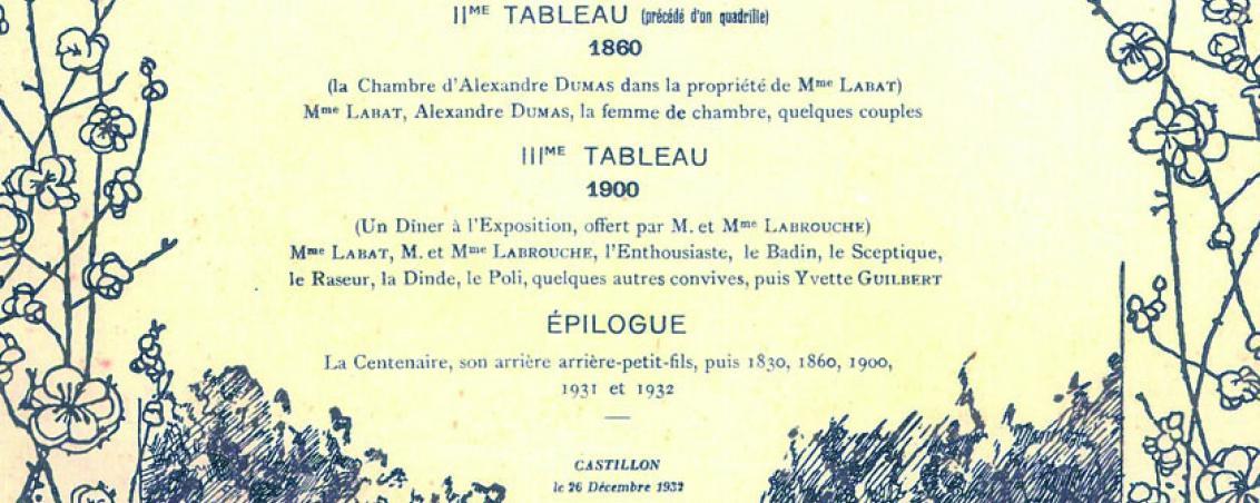 Programme des festivités en l'honneur des 100 ans de Mme Labat en 1931. Le dessin exécuté par Pierre Labrouche, artiste reconnu, représente le lieu dit de la piscine dans le parc, dont il ne reste aujourd'hui que le tracé. Prêt de Madame de Clisson