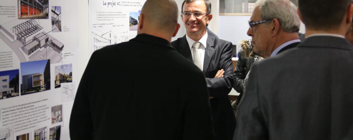 Henri Emmanuelli, Président du Conseil Départemental des Landes lors de l'inauguration du Pôle sud Aquitaine en novembre 2014, avec Jean-Marc Lespade. Crédit photo Ville de Tarnos