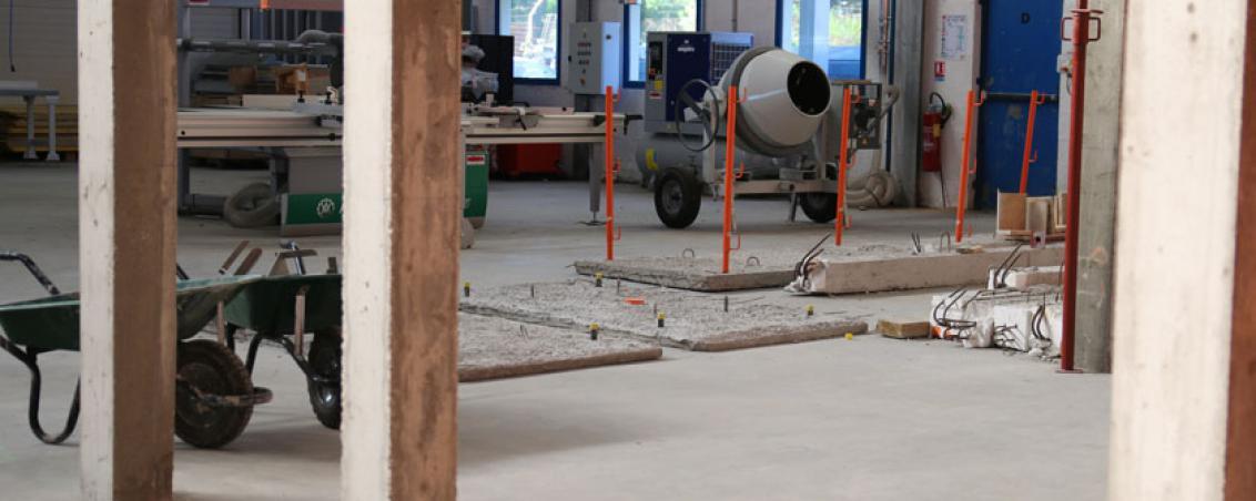 Zone de chantier du PERF (Pôle Recherche et Formation) destinée aux futurs ouvriers afin qu'ils puissent s'exercer avec du matériel professionnel.