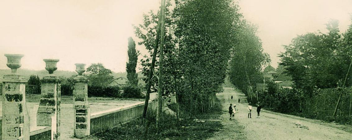 La RD810 au début du XXe siècle, devant l'actuel Hôtel de Ville, Ville de Tarnos