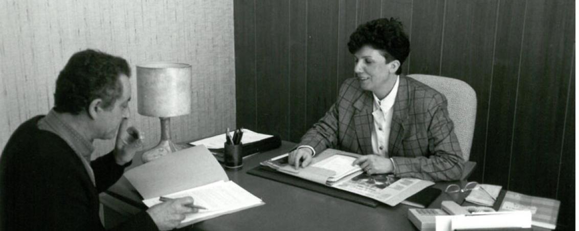 Pierrette Fontenas et Jacky Baron, directeur des finances. Non daté, Ville de Tarnos