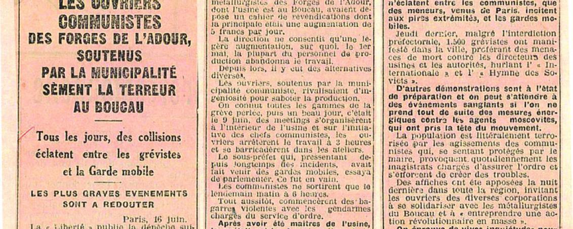 Article du journal La Liberté. 1930