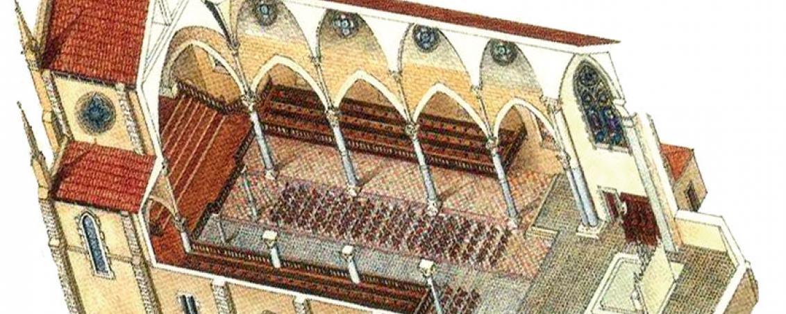 Vue axonométrique de l'Église des Forges par Dominique Duplantier.