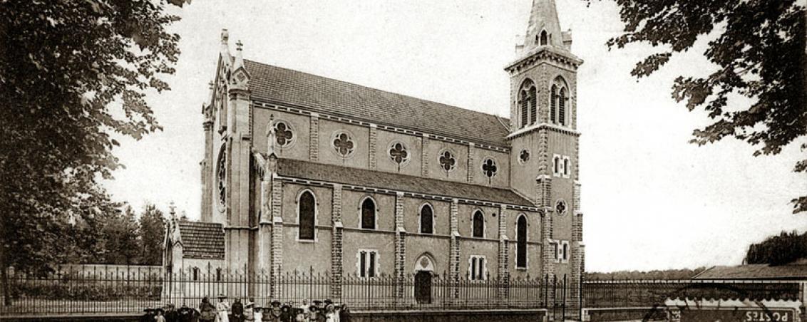 Église des Forges, façade Est. Début XXème siècle, prêt de Monsieur Saldou