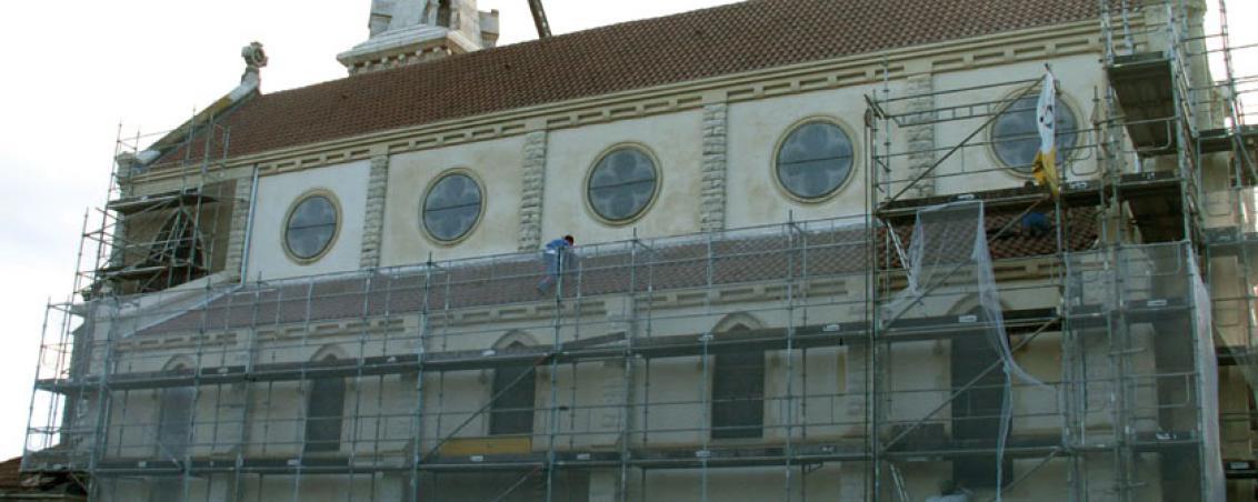 Travaux de réhabilitation de l'Église, façade Ouest. 2007, Ville de Tarnos