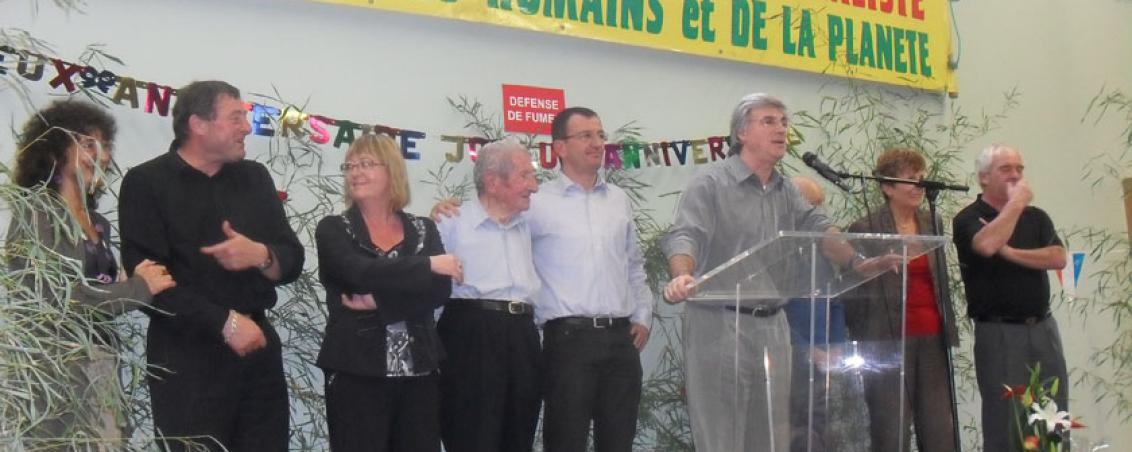 Patrick Le Hyaric, Directeur du Journal L'Humanité, était venu aux 90 ans d'André Maye. 2010, Ville de Tarnos