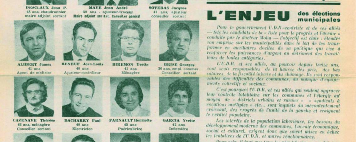 Liste menée par André Maye aux élections municipales de 1971. Ville de Tarnos