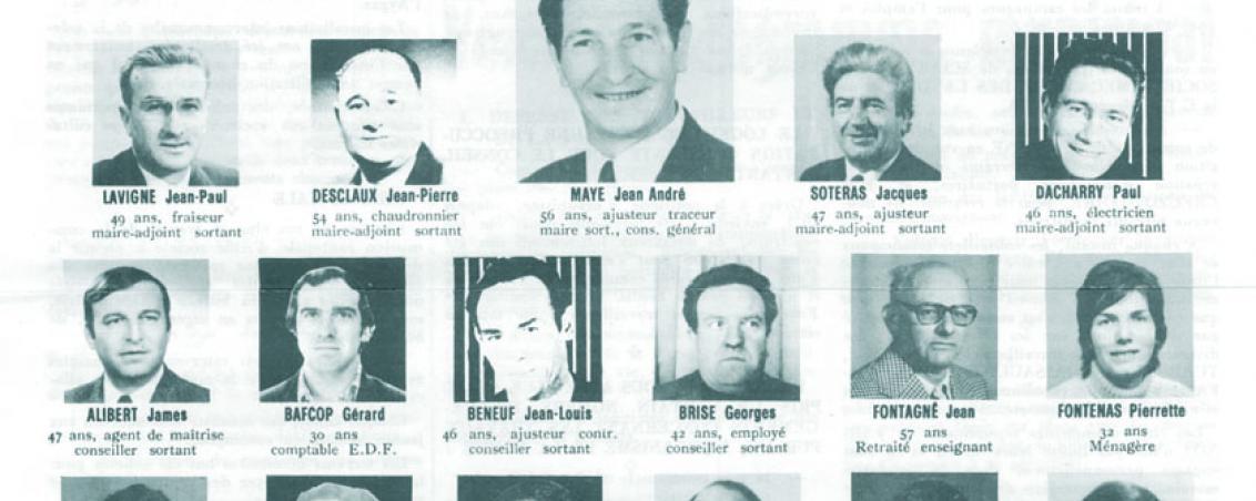 Liste menée par André Maye aux élections municipales de 1977. Ville de Tarnos
