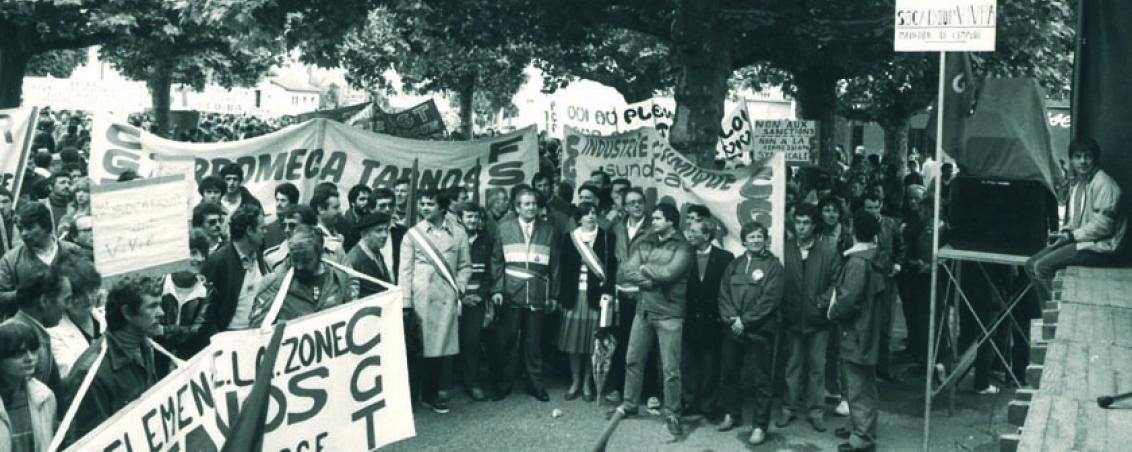 André Maye lors d'une manifestation pour l'emploi. Années 1980. Ville de Tarnos
