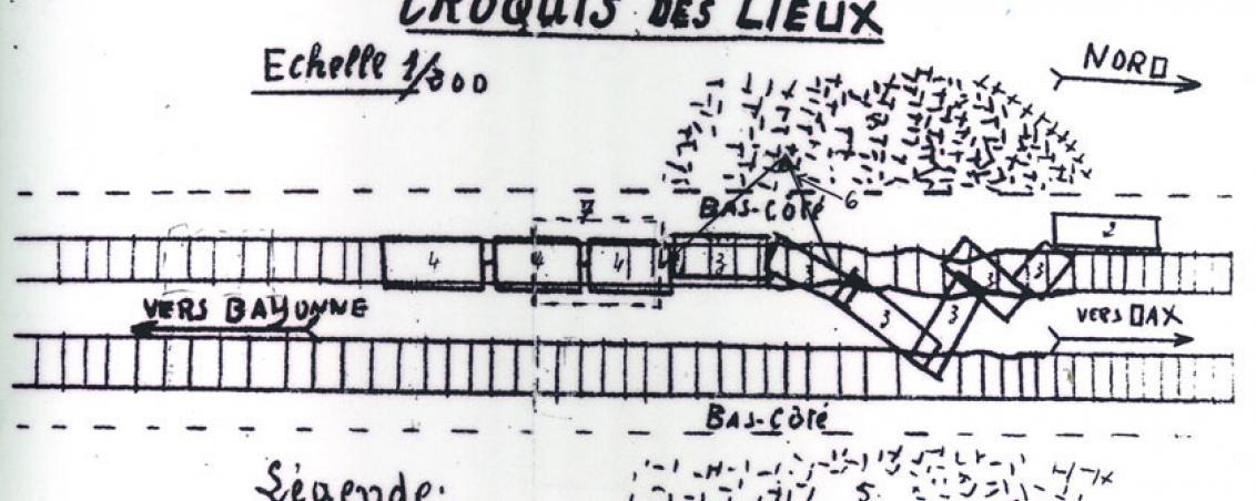 Croquis d'un sabotage de voies ferrées dans la région. 1944