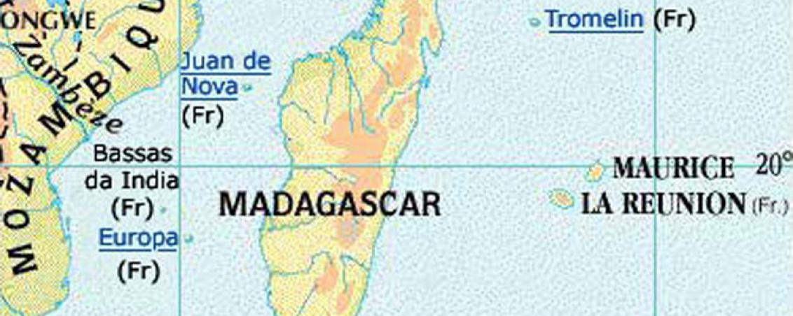 Situation géographique de l'Île de Sable (Tromelin)