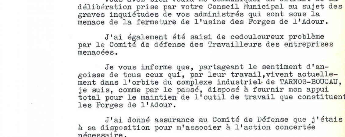 Courrier du sénateur des Landes adressé au Maire de Tarnos. 1961, Ville de Tarnos
