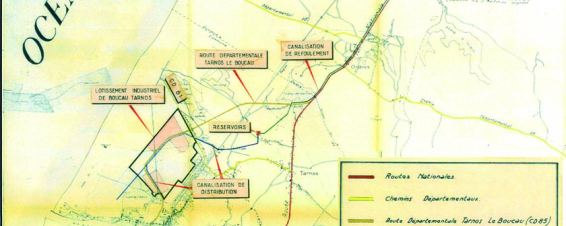 Plan d'ensemble du lotissement industriel de Boucau-Tarnos. 1964, Ville de Tarnos