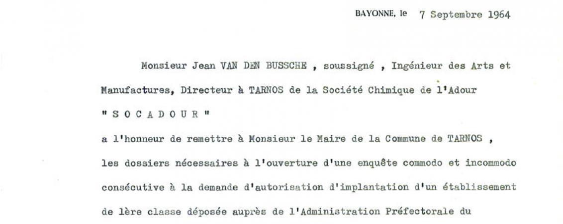 Courrier du directeur de l'usine SOCADOUR adressée au Maire de Tarnos. 1964, Ville de Tarnos