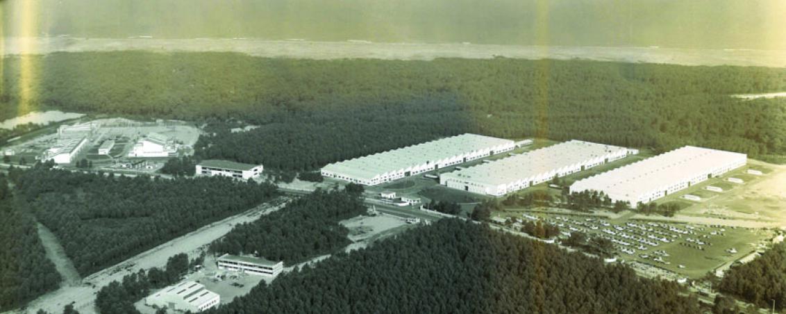 Vue aérienne du site d'implantation de Turbomeca. Milieu des années 1970, Ville de Tarnos