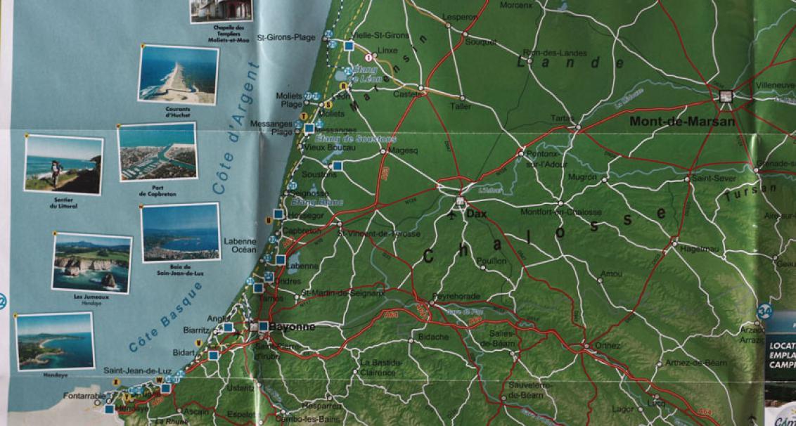 Carte Vélodyssée + Chemin de Saint Jacques de Compostelle de l'ASP Edition, zoom sur l'Aquitaine.