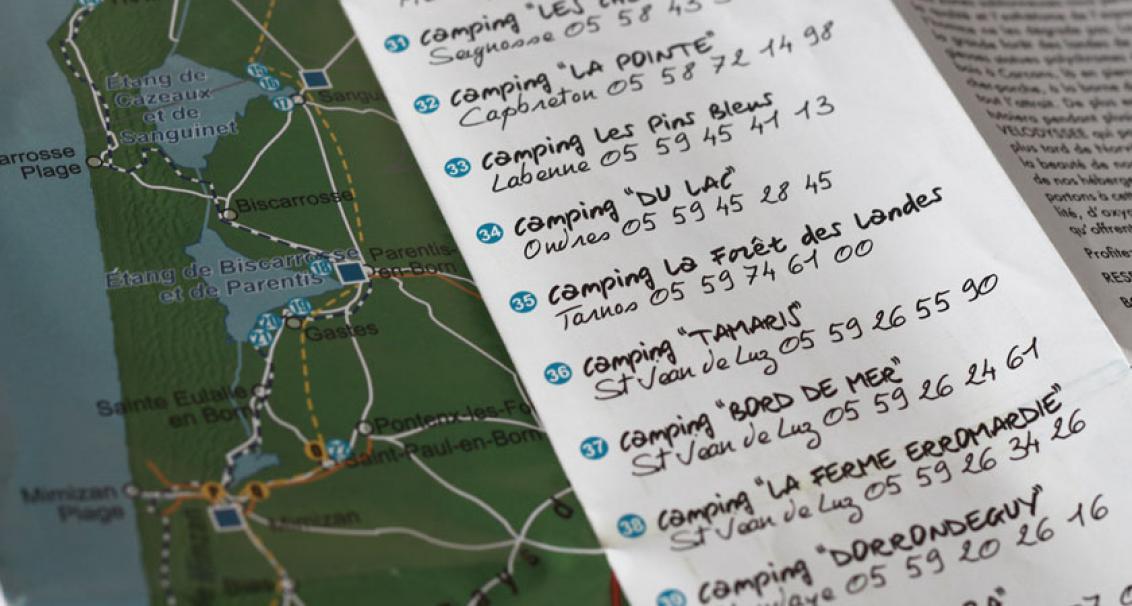 Les différents campings présents sur le chemin de la Vélodyssée et du chemin de Saint Jacques, zoom sur les villes de Tarnos et Ondres.