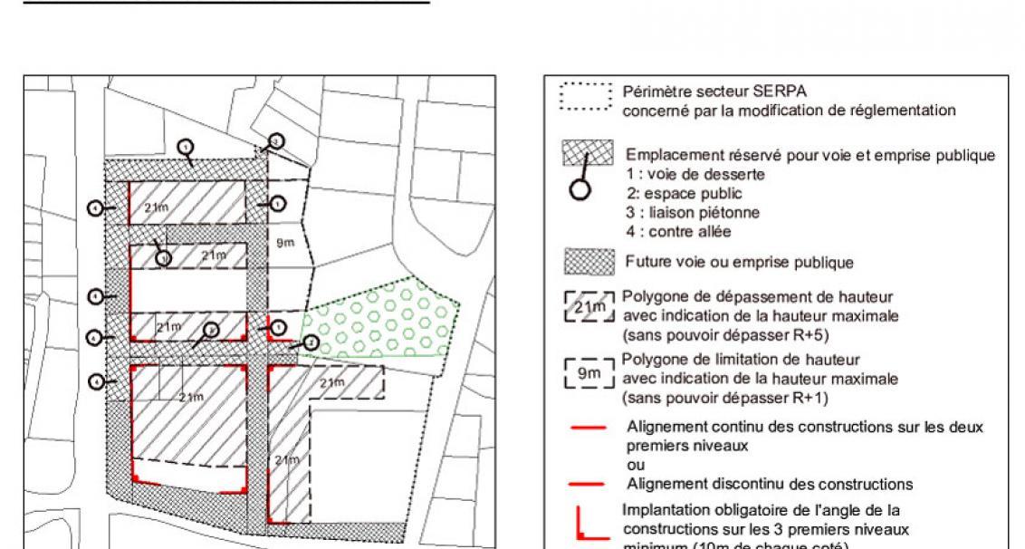 """Extrait OAP PLU de Tarnos """"Aménager le Centre Ville"""" Secteur SERPA"""
